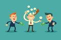 Sell your idea illustration of businessman his bulbs to another Royalty Free Stock Photos
