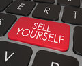 Sell yourself computer keyboard red key promotion marketing a on a modern laptop with words giving advice on how to promote or Stock Image