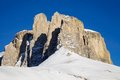 Sella group in the Dolomite mountains in winter Royalty Free Stock Photography