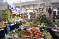 Seller of fruit and vegetables at a market in rome italy Royalty Free Stock Photos
