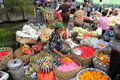 Seller at the market image of ubud bali indonesia Stock Images