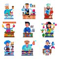 Seller vector salesman character selling in bookshop candyshop or coffeeshop and butcher or baker in stall illustration