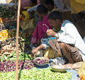 Sellers in the indian rural area market Stock Photography