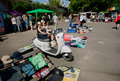 Sellers of second hand bazaar wait for the customer kiev ukraine on street flea market at summer sunny day kiev th largest Royalty Free Stock Image