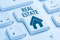Selling buying real estate home icon online blue computer keyboard Royalty Free Stock Photo