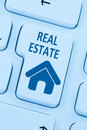 Selling buying real estate home icon online blue computer web Royalty Free Stock Photo