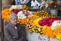 Selling flowers at the market, Rajasthan Stock Photos