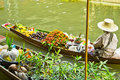 Selling food on a boat at floating market, Thailand Stock Photography