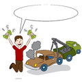 Selling old car an image of a man his to a tow truck driver Royalty Free Stock Image