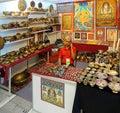 Selling Tibetan Religious Artifacts Royalty Free Stock Photo