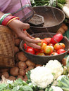 Selling tomatoes at the  weekly market Royalty Free Stock Photo