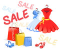 Selling women s clothing vector illustration Royalty Free Stock Images
