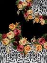 Kvety zviera vytlačiť čierny dizajn vytlačiť