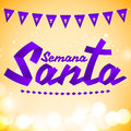 Semana Santa - Holy Week spanish text - Golden ribbon vector lettering Royalty Free Stock Photo
