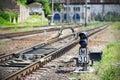Semaphore on railway Royalty Free Stock Photo