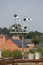Semaphore signal gantry at shrewsbury station on the approach to shropshire england with two sets of signals one set has Stock Photography