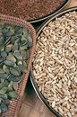 Sementes da abóbora, do flix e de girassol Foto de Stock Royalty Free
