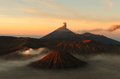 Semeru volcanos mount and mount bromo in east java indonesia Royalty Free Stock Photos