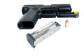 Semi automatic handgun magazine and critical defense ammunition for a in s w equipped with a laser Stock Photo