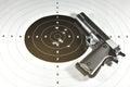 1911 semi automatic handgun and shooting target Royalty Free Stock Photo