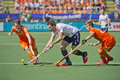 Semi finals netherlands vs england the hague june dutch players van ass and de wijn blocking striker simon mantell during the of Royalty Free Stock Photography