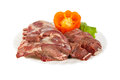 Semi-finished products made of wild boar meat on the plate, isolated Royalty Free Stock Photo