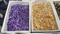 Semi precious amethyst and citrine stones Royalty Free Stock Photo