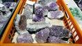Semi precious amethyst stones Royalty Free Stock Photo