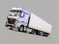 Semi trailer truck a modern on gray background Stock Images