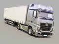 Semi trailer truck a modern on gray background Stock Photography