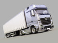 Semi trailer truck a modern on gray background Royalty Free Stock Photo