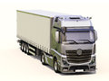 Semi trailer truck a modern on light background Stock Photo