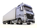 Semi trailer truck a modern on light background Royalty Free Stock Photo