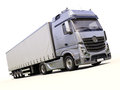 Semi trailer truck a modern on light background Stock Image
