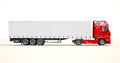 Semi trailer truck a modern on light background Stock Images