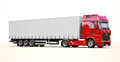Semi trailer truck a modern on light background Royalty Free Stock Images