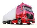 Semi trailer truck a modern on light background Stock Photos