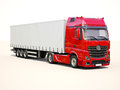 Semi trailer truck a modern on light background Royalty Free Stock Photography