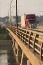 Semi Truck on Bridge Royalty Free Stock Photo