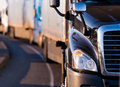 Semi truck in fronf of convoy Royalty Free Stock Photo