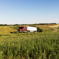 Semi truck on rural road. Royalty Free Stock Images
