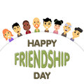 The semicircle of friends of different genders and nationalities as a symbol of International Friendship day.