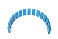Semicircle out of blue building blocks all on white background Royalty Free Stock Image