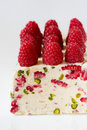 Semifreddo with raspberry and pistachios