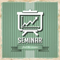 Seminar concept on green in flat design with flipchart icon striped background vintage Stock Images