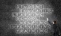 Seminar trainer draw on chalkboard