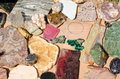 Semiprecious stones and minerals variety collection of Stock Photography