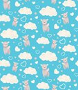 Semless pattern with cute winged llamas, clouds and hearts. Childish texture