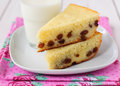 Semolina cake two pieces of with a glass of milk Royalty Free Stock Photos