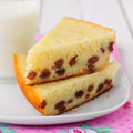 Semolina cake two pieces of with a glass of milk square Royalty Free Stock Photos